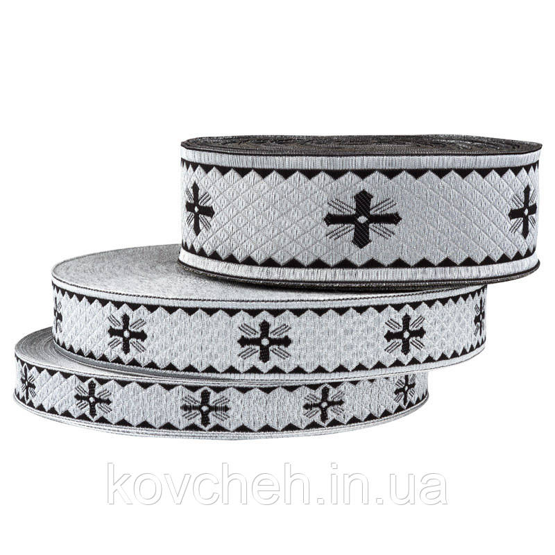 Галун тесьма церковная 50 мм, черный серебро