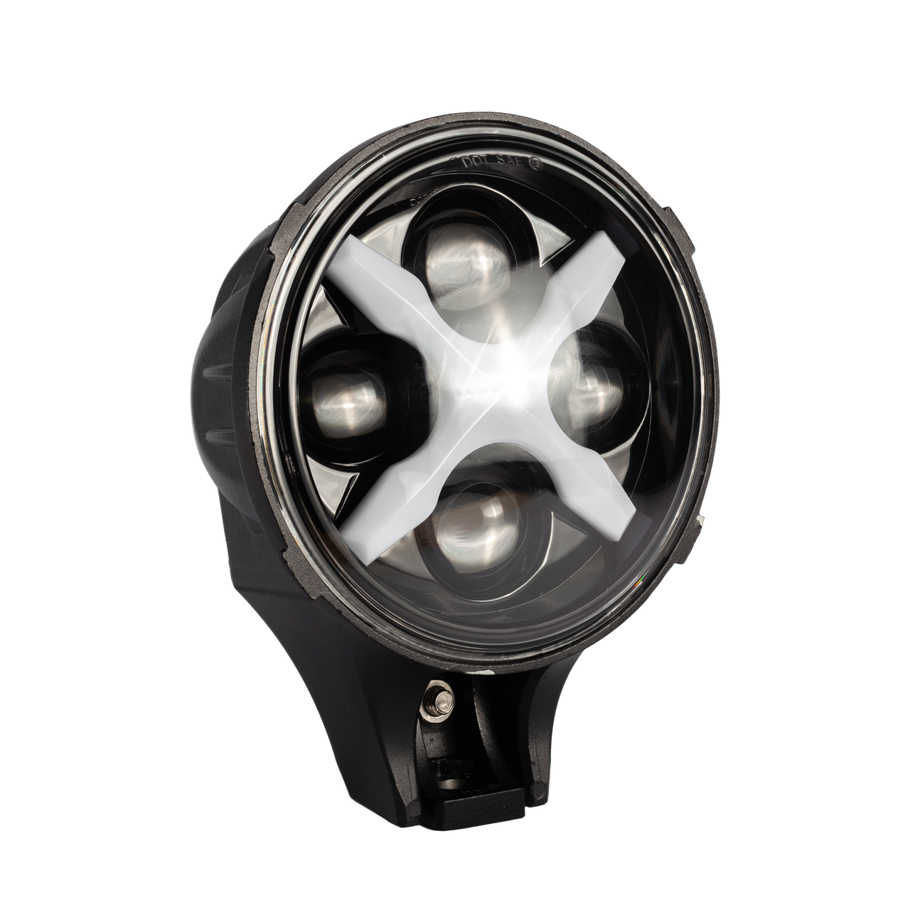 Фара LED круглая 60W 6000К (4 диода х 15W) + Х-DRL(chip CREE)(19.4 см х 12.1 х 15 см)(ближний + супер дальний)