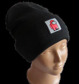 Молодежная весенняя хлопковая шапка Fero со светоотражающим логотипом Among Us (Амонг Ас), черная