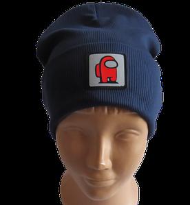 Молодежная весенняя хлопковая шапка со светоотражающим логотипом Among Us (Амонг Ас), темно-синяя