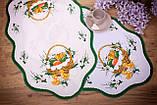 Салфетка Великодня 38-64 «Пасхальний Кошик» Зелений візерунок Біла, фото 2