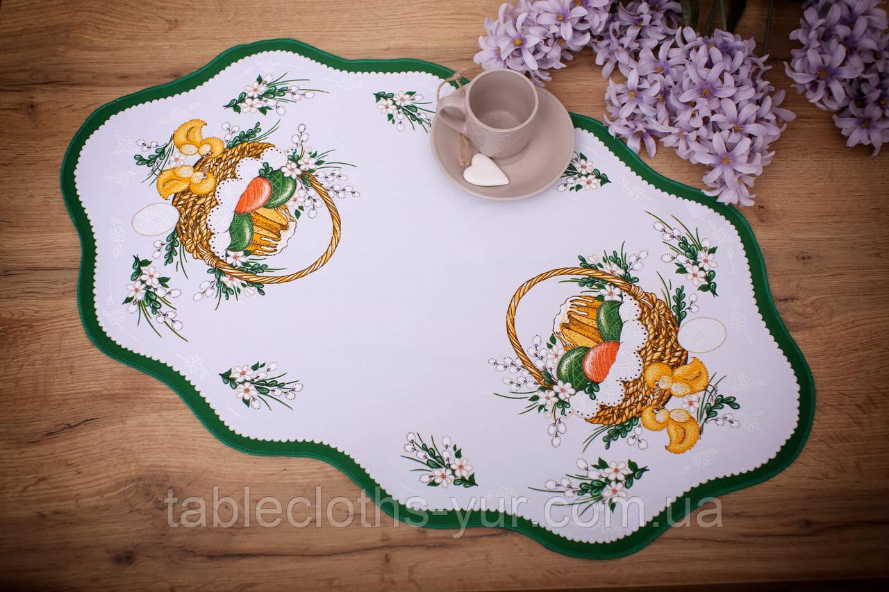 Салфетка Великодня 38-64 «Пасхальний Кошик» Зелений візерунок Біла
