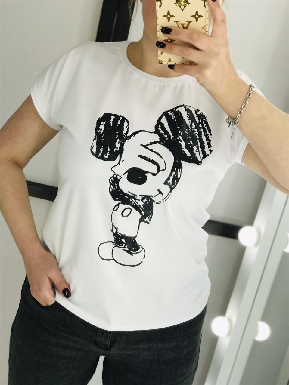 Стильна футболка з міккі маусом 42-48 (в кольорах)