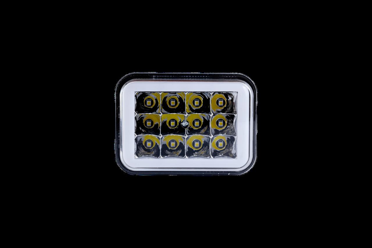 Фара LED прямоугольная 18W (LED кольцо + 2 цвета + strobe light)