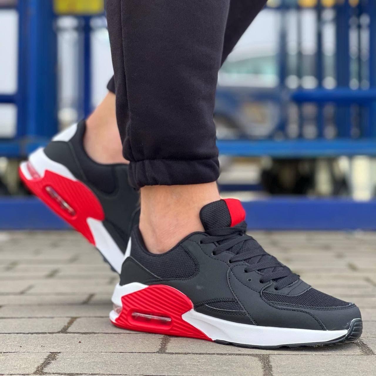 Чоловічі кросівки в стилі ривал 40-45 чорні з червоним 0127