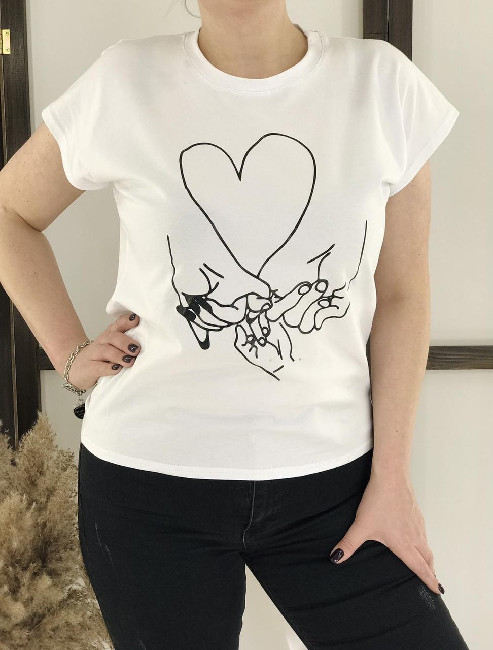 Летняя женская футболка с рисунком 42-48 (в расцветках)