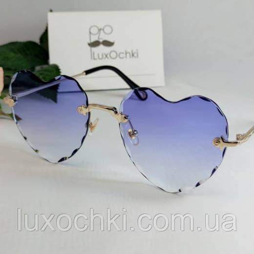 Стильные элегантные безоправные женские солнцезащитные очки Chloe сердечки