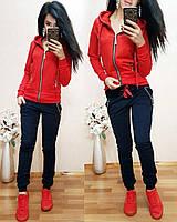 Женский спортивный костюм на змейке размер XL (48) красный / темно-синий Супер цена! 1 шт в наличии, фото 1