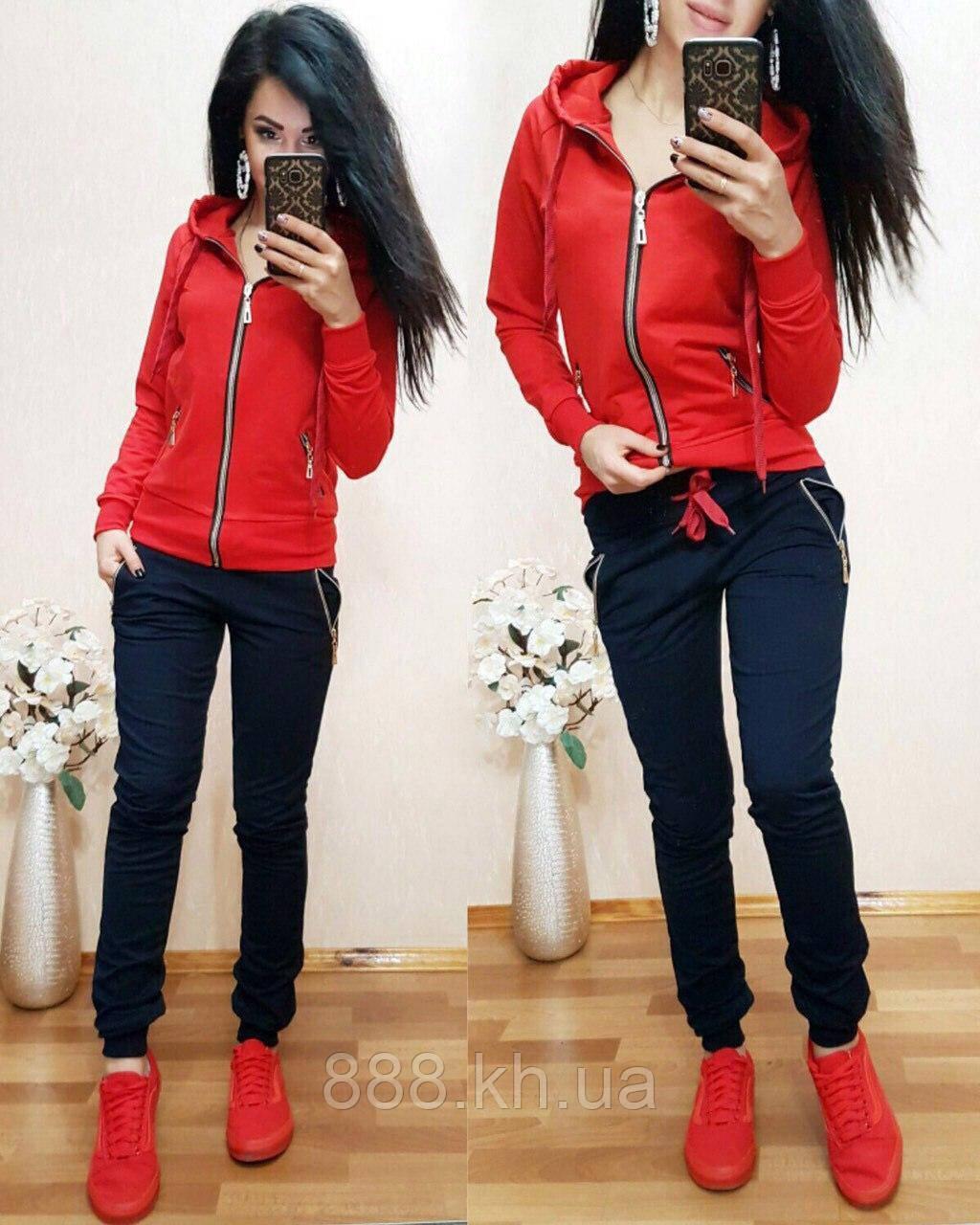 Женский спортивный костюм на змейке размер XL (48) красный / темно-синий Супер цена! 1 шт в наличии