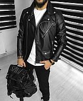 Мужская стильная кожаная курточка (эко кожа) косуха / Турецкое качество.