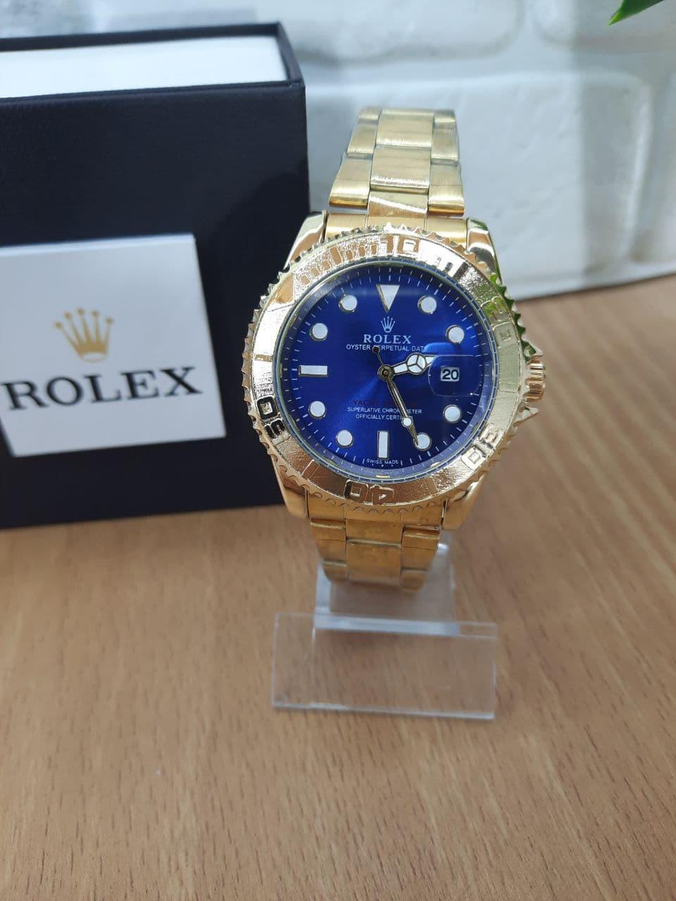 Мужские часы реплика Rolex Oyster Perpetual Ролекс ( Gold/Blue)