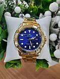 Мужские часы реплика Rolex Oyster Perpetual Ролекс ( Gold/Blue), фото 5