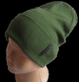 Молодежная весенняя хлопковая однотонная шапка Fero, хаки