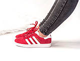 Женские красные кроссовки Adidas Gazelle, женские кроссовки адидас газель (Реплика ААА), фото 2
