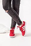 Женские красные кроссовки Adidas Gazelle, женские кроссовки адидас газель (Реплика ААА), фото 4