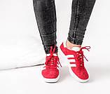 Женские красные кроссовки Adidas Gazelle, женские кроссовки адидас газель (Реплика ААА), фото 3