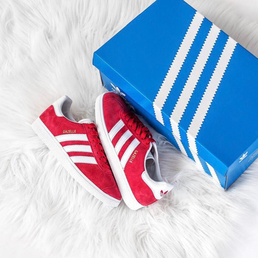 Женские красные кроссовки Adidas Gazelle, женские кроссовки адидас газель (Реплика ААА)