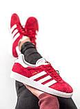 Женские красные кроссовки Adidas Gazelle, женские кроссовки адидас газель (Реплика ААА), фото 5