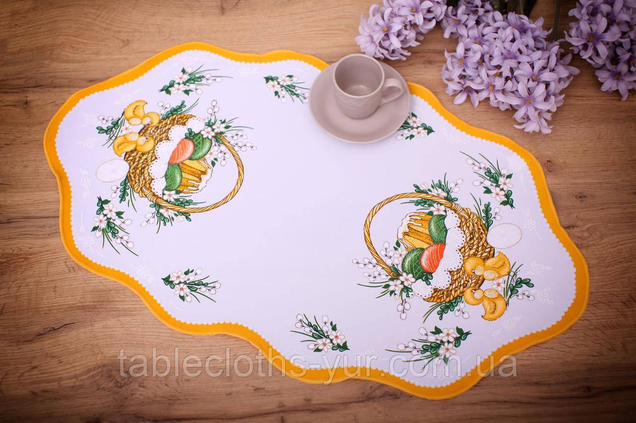 Салфетка Великодня 38-64 «Пасхальний Кошик» Жовтий візерунок Біла