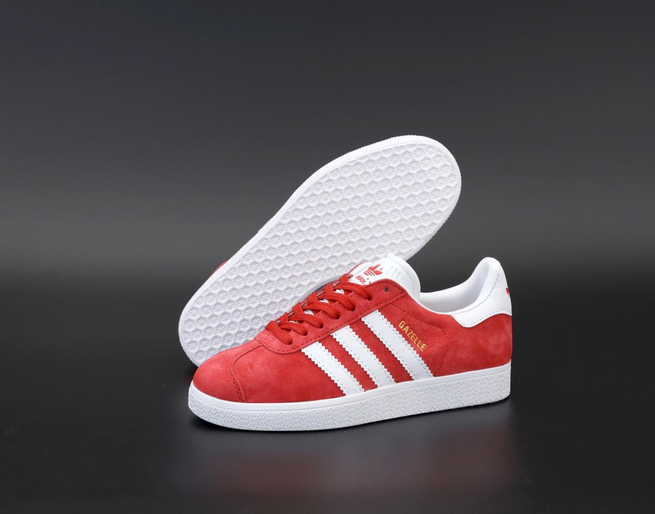 Чоловічі червоні кросівки Adidas Gazelle, чоловічі кросівки адідас газель (Репліка ААА)