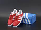 Чоловічі червоні кросівки Adidas Gazelle, чоловічі кросівки адідас газель (Репліка ААА), фото 5