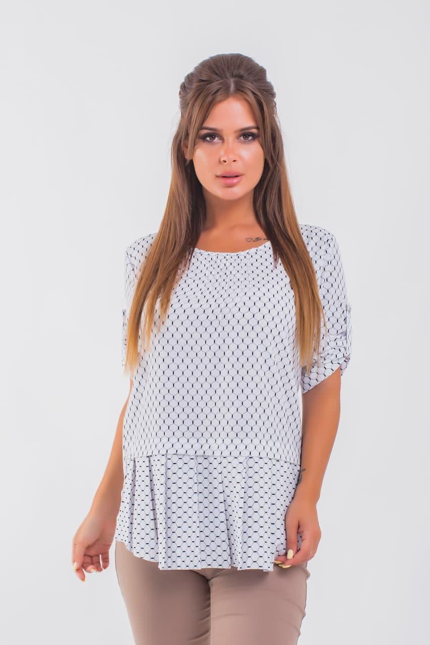 Женская блузка в мелкий принт 42-56 (в расцветках)
