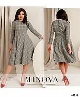 Ніжне плаття з пишним подолом в клітку, ззаду ряд гудзиків з 42 по 48 розмір, фото 2