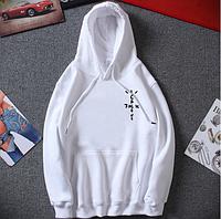 Белое худи Cactus Jack Minimal Logo, белая толстовка унисекс (мужское, женское, детское)