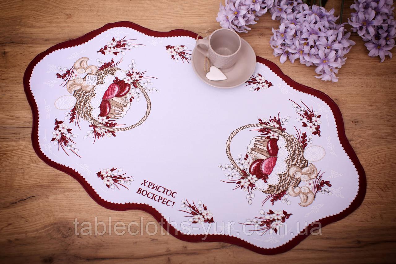 Салфетка Великодня 38-64 «Пасхальний Кошик» Червоний візерунок Біла