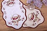 Салфетка Великодня 38-64 «Пасхальний Кошик» Червоний візерунок Біла, фото 2