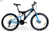 """Горный велосипед Azimut Power 26 дюймов. Дисковые тормоза. Рама 19.5"""". Черно-синий."""