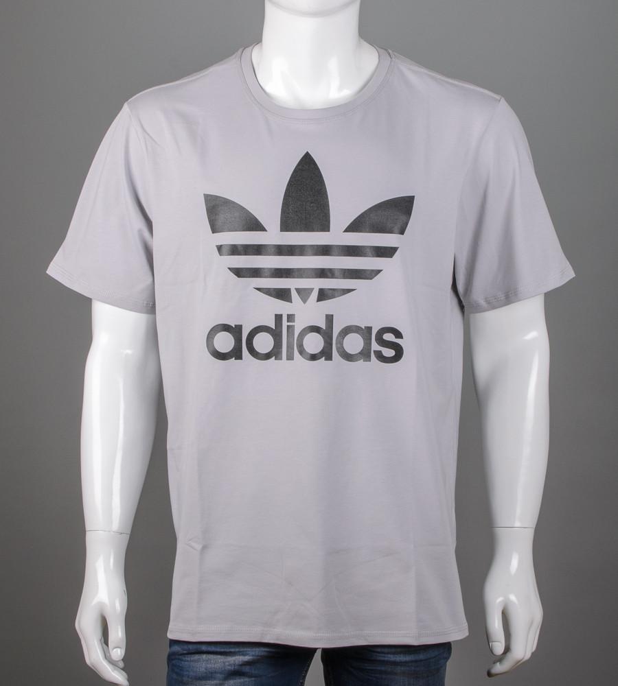 Футболка чоловіча батал Adidas (2112б), Св.Сірий