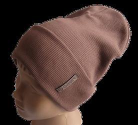 Молодежная весенняя хлопковая однотонная шапка Fero, коричневая