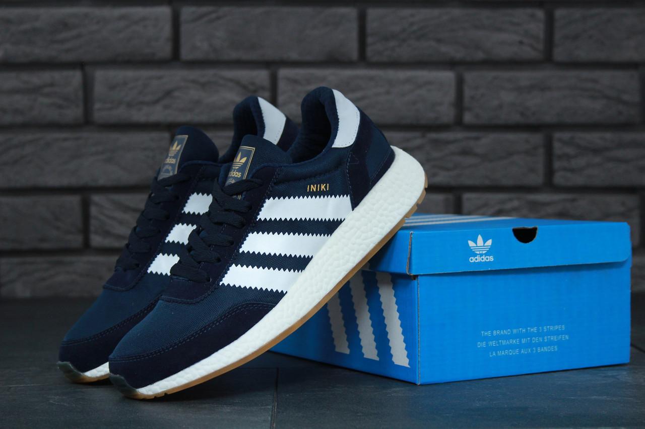 Мужские кроссовки Adidas Iniki (dark blue), синие кроссовки Адидас Иники (Реплика ААА)
