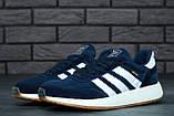 Мужские кроссовки Adidas Iniki (dark blue), синие кроссовки Адидас Иники (Реплика ААА), фото 2
