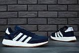 Мужские кроссовки Adidas Iniki (dark blue), синие кроссовки Адидас Иники (Реплика ААА), фото 3