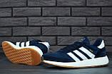 Мужские кроссовки Adidas Iniki (dark blue), синие кроссовки Адидас Иники (Реплика ААА), фото 5
