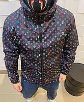 Мужская демисезонная куртка Louis Vuitton черная модная весна лето 2021 влагозащитная