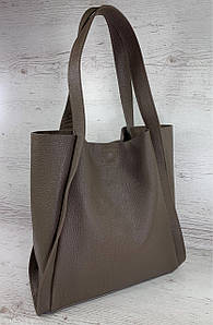 154-3 Натуральная кожа Женская черная сумка шоппер кофейная Сумка шоппер кожаная Сумка мягкая натуральная