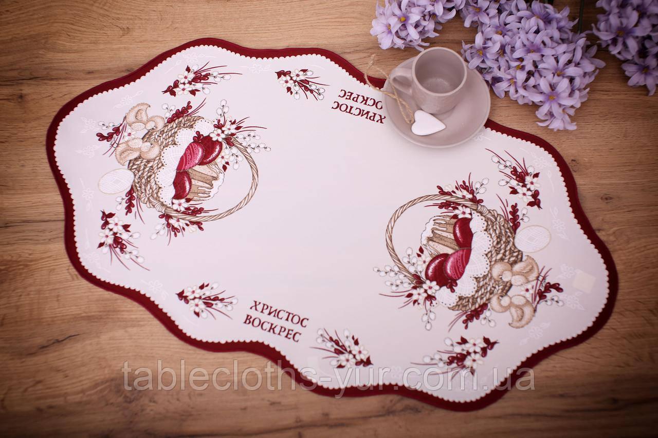 Салфетка Великодня 38-64 «Пасхальний Кошик» Червоний візерунок Бежева