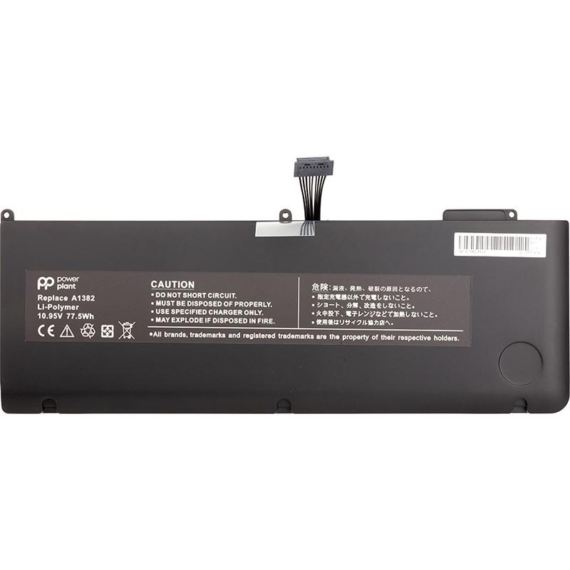"Акумулятор PowerPlant для ноутбуків APPLE MacBook Pro 15.4"" (A1286, A1382) 10.95 V 77.5 Wh"