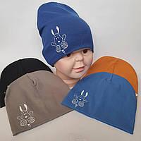 Детские Шапки Оптом весна-осень на 7 км недорого трикотажная  для мальчика двойная р 52-54
