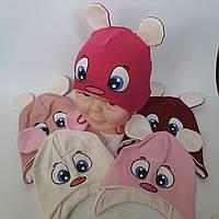 Купить детские Шапки Оптом от производителя трикотажная для девочки с ушками на завязках р 44-48