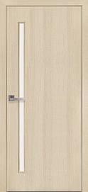 Двері міжкімнатні Глорія скло сатин Еко Шпон, Дуб перловий, 600