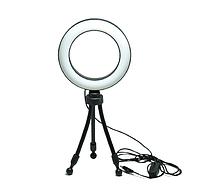 Комплект Штатив тринога MINI + LED кільце 16 см з USB контроллером кольцевая лампа селфи кольцо