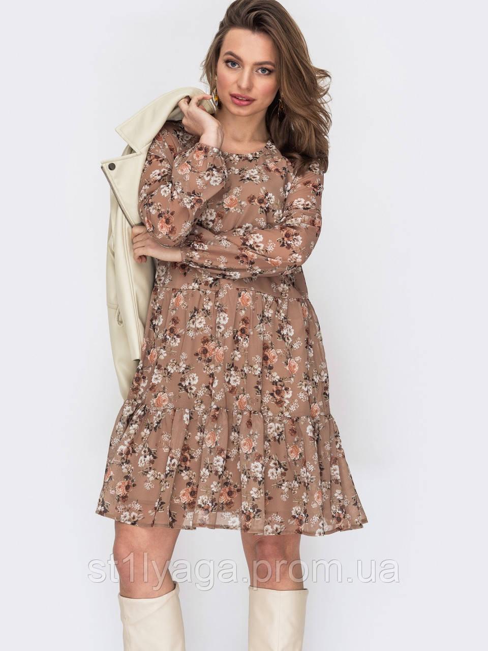 Короткое платье из шифона в цветочном принте