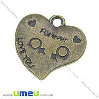 Подвеска металлическая Сердце, Античная бронза, 26х26 мм, 1 шт (POD-003346)