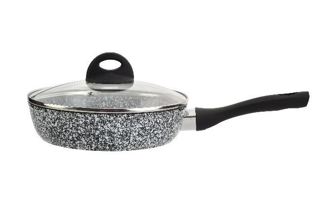 Сковорода з кришкою і мармуровим покриттям Edenberg 22 см Чорний з білим (EB-3435)