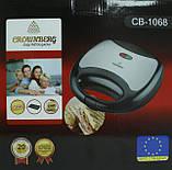 Сэндвичница гриль Crownberg CB-1068 750W Black/Silver (112754), фото 4
