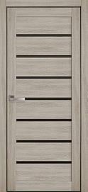Двері міжкімнатні Леона скло BLK Еко Шпон, Ясен патина, 700
